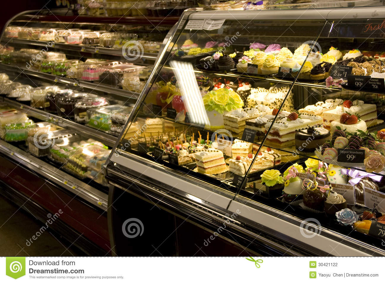 Cakes And Desserts In Supermarket Stock Photography