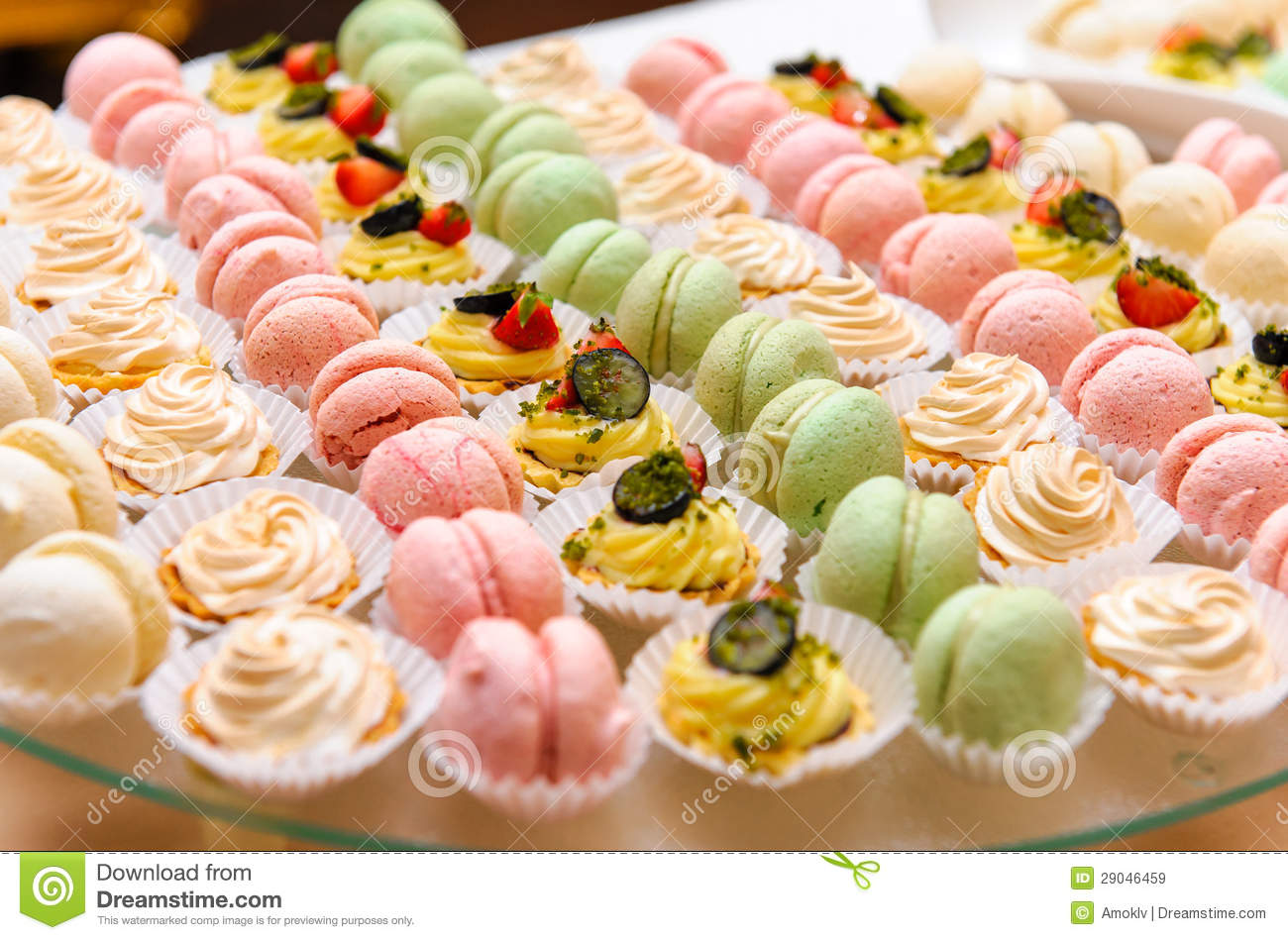 60 Table Seats How Many Cakes And Macaroon Stock Image Image Of Delicious
