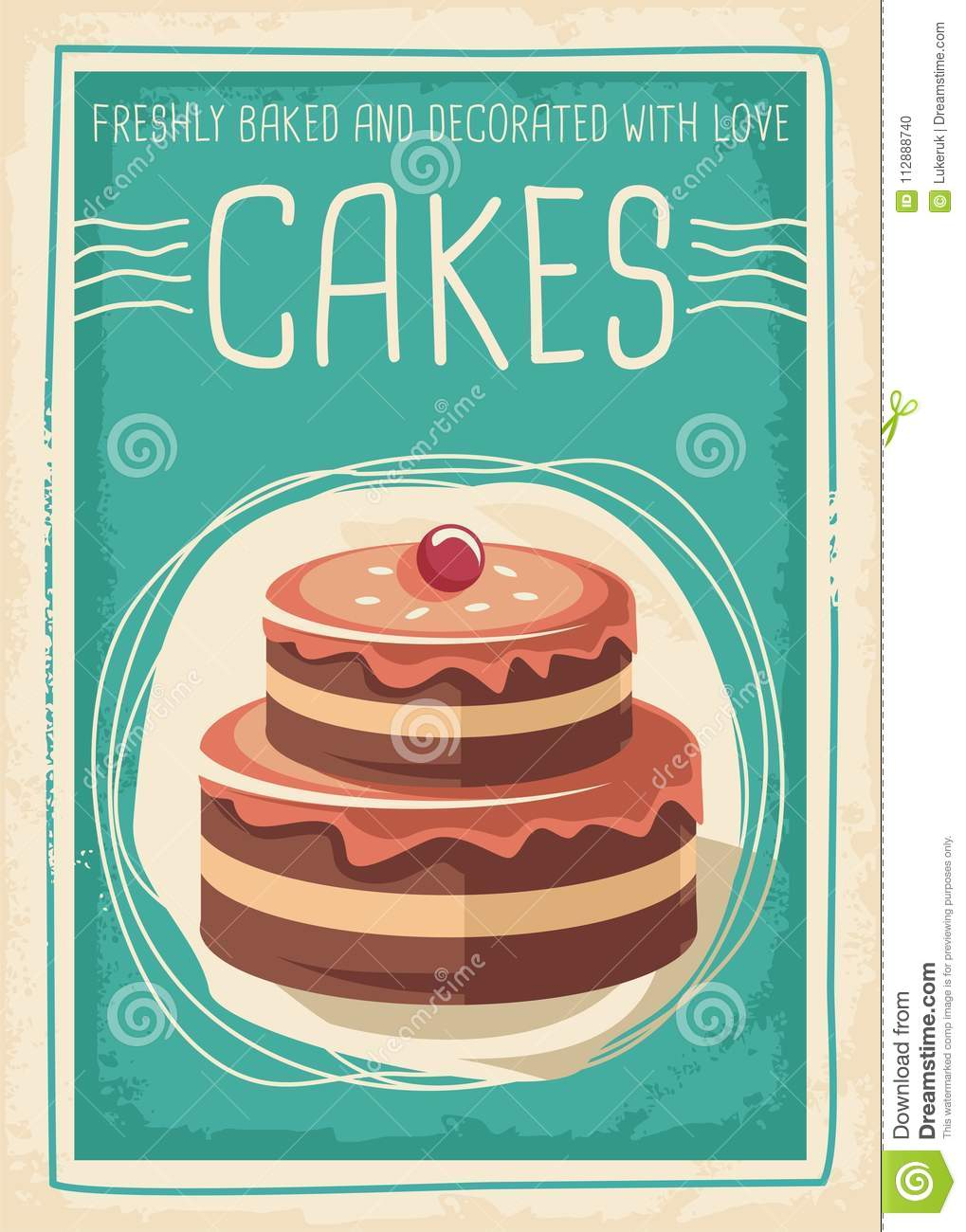 Cakes And Sweets Retro Poster Design Stock Vector ...