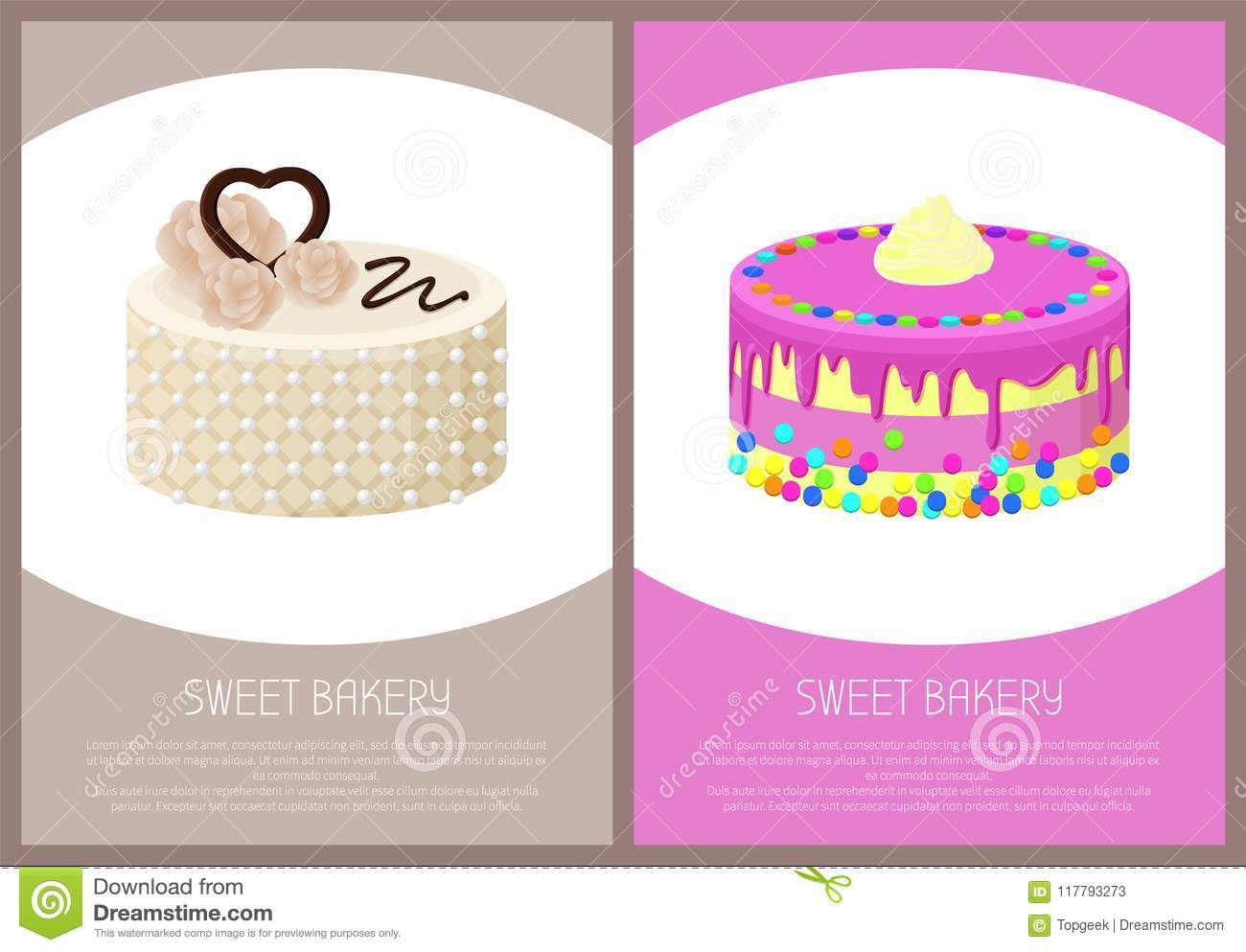 Cakes Variety Page Online Shop Vector Illustration Stock Vector