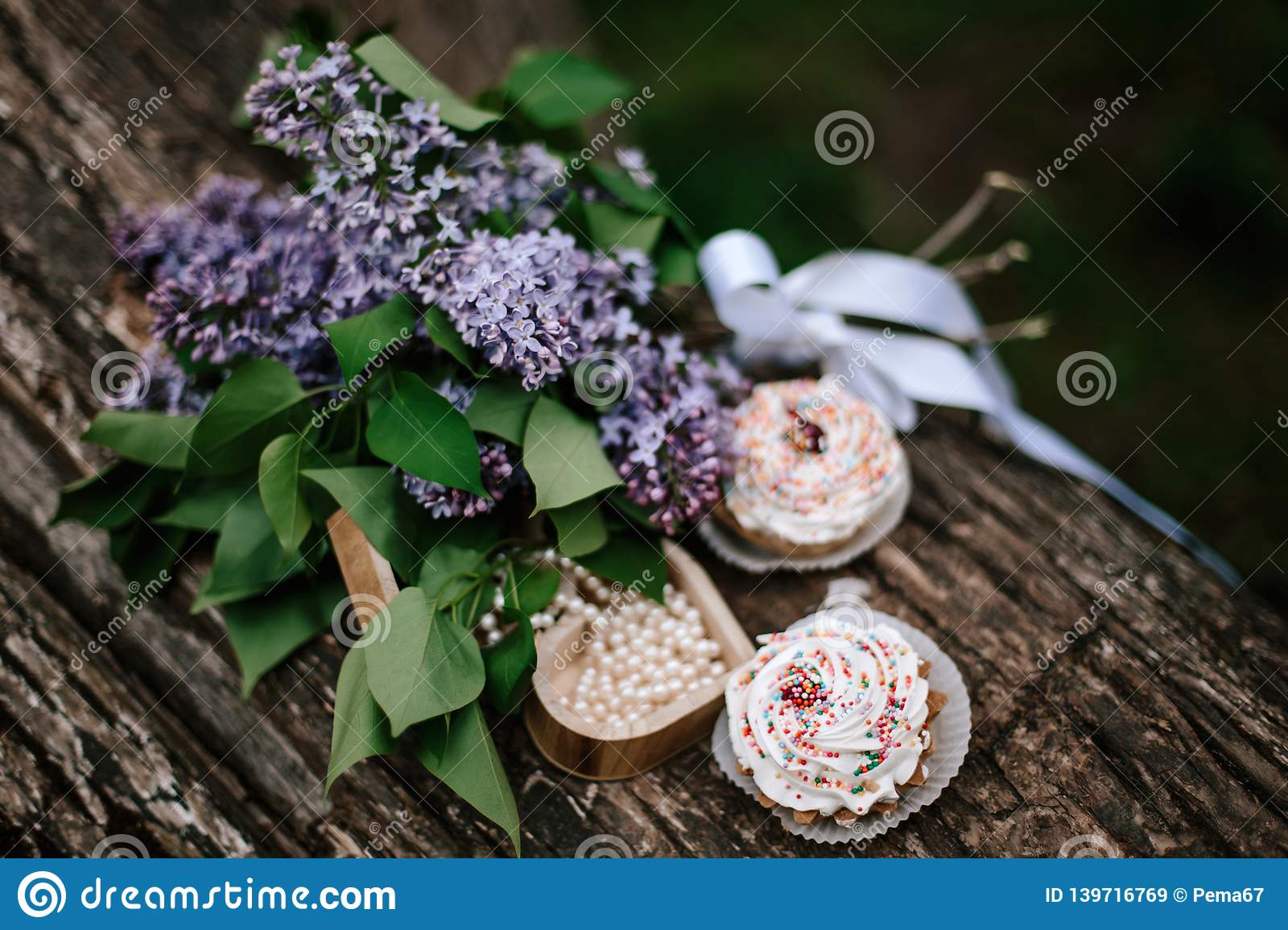Cakes on a wooden table