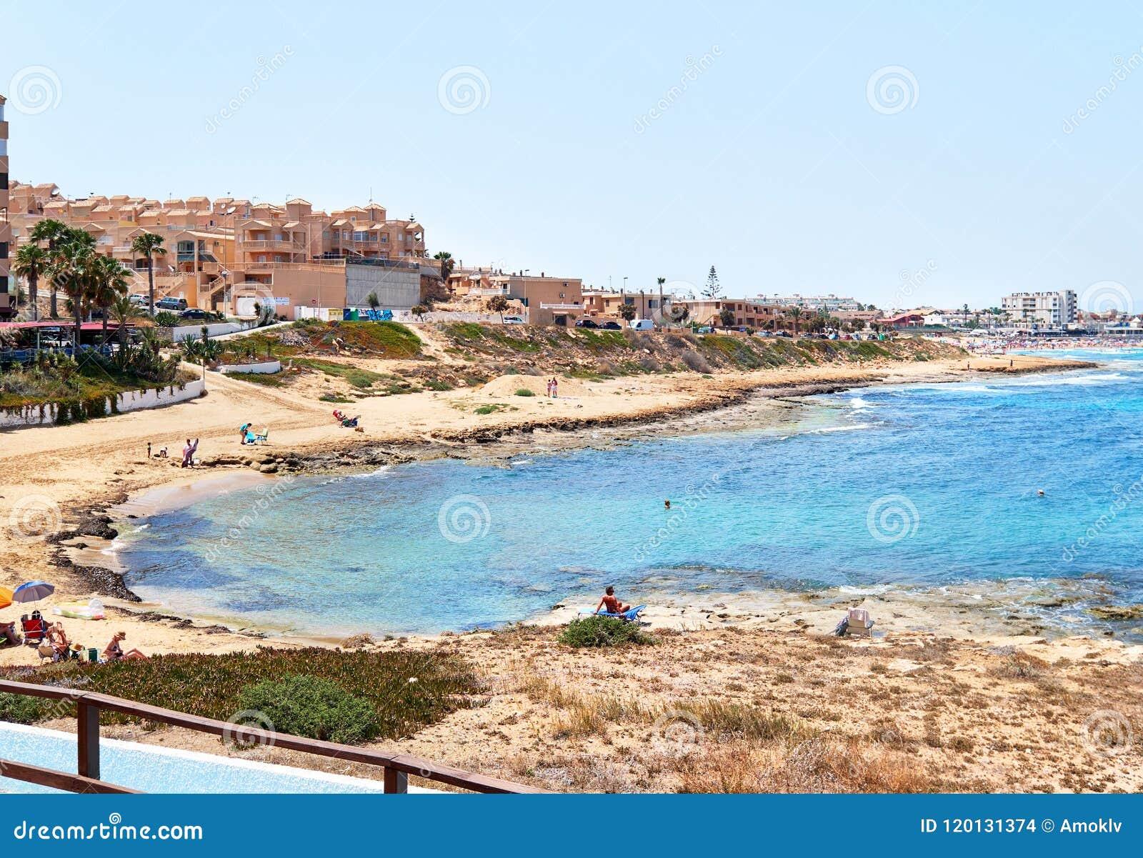 Goede Cala DE Cabo Cervera Strand Torrevieja, Spanje Redactionele Stock HZ-89