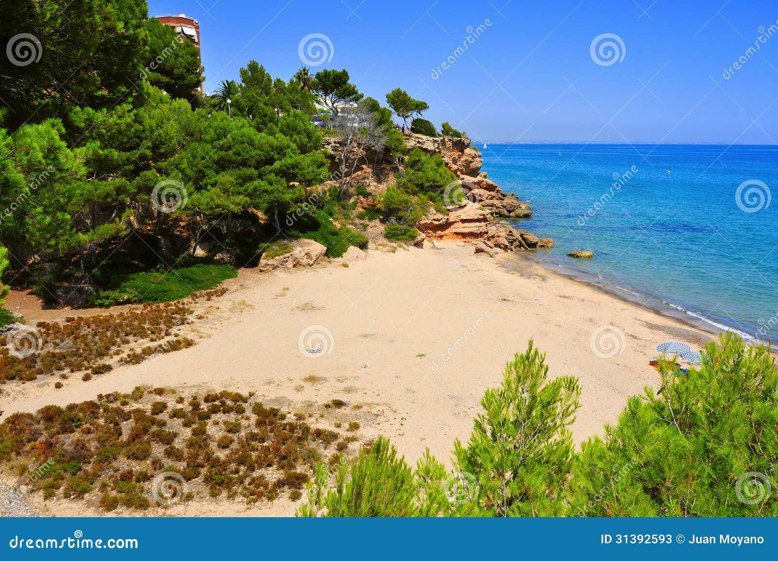 cala dels vienesos beach in miami platja spain stock. Black Bedroom Furniture Sets. Home Design Ideas
