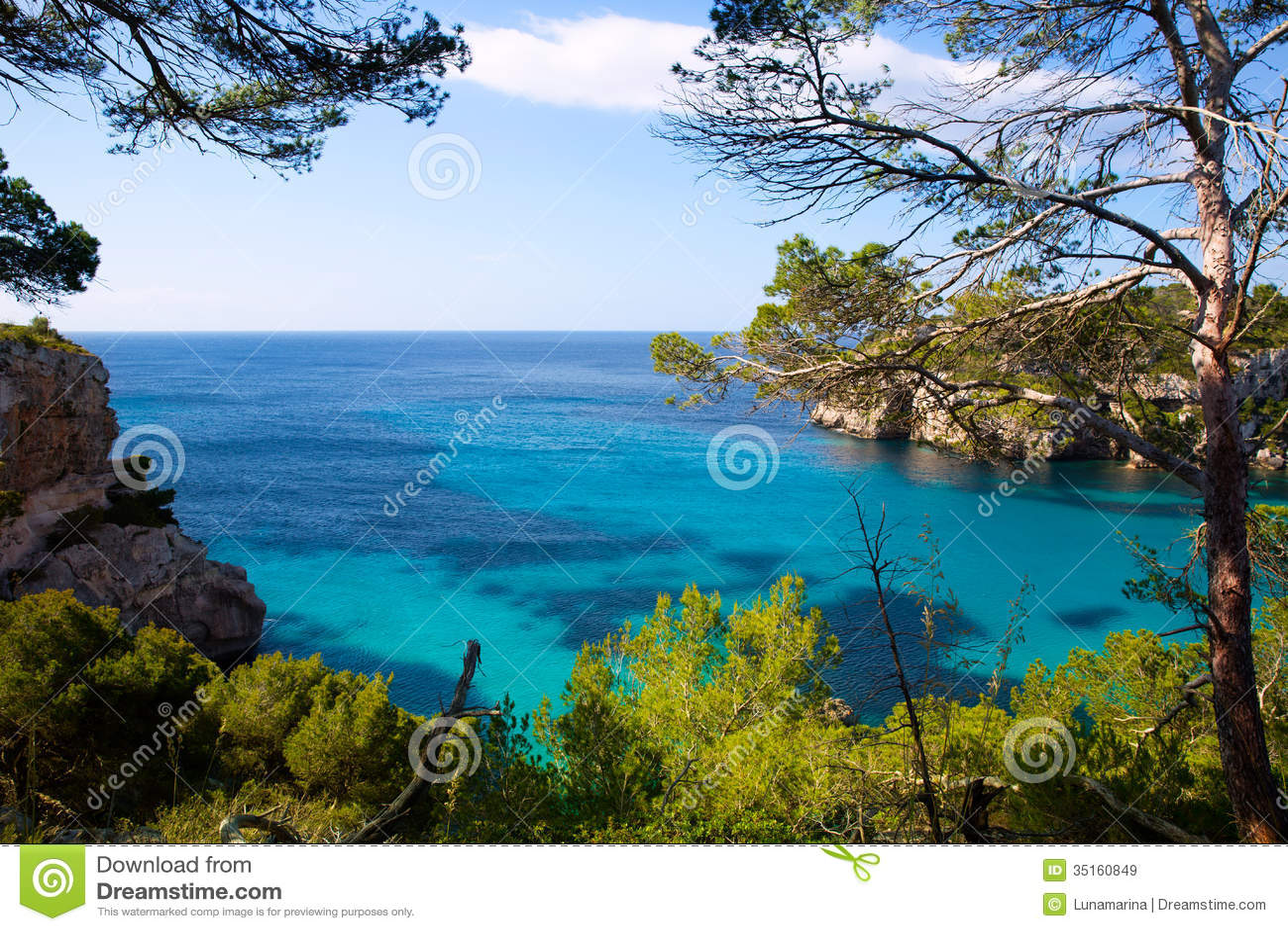 Cala Macarella Menorca绿松石拜雷阿尔斯地中海