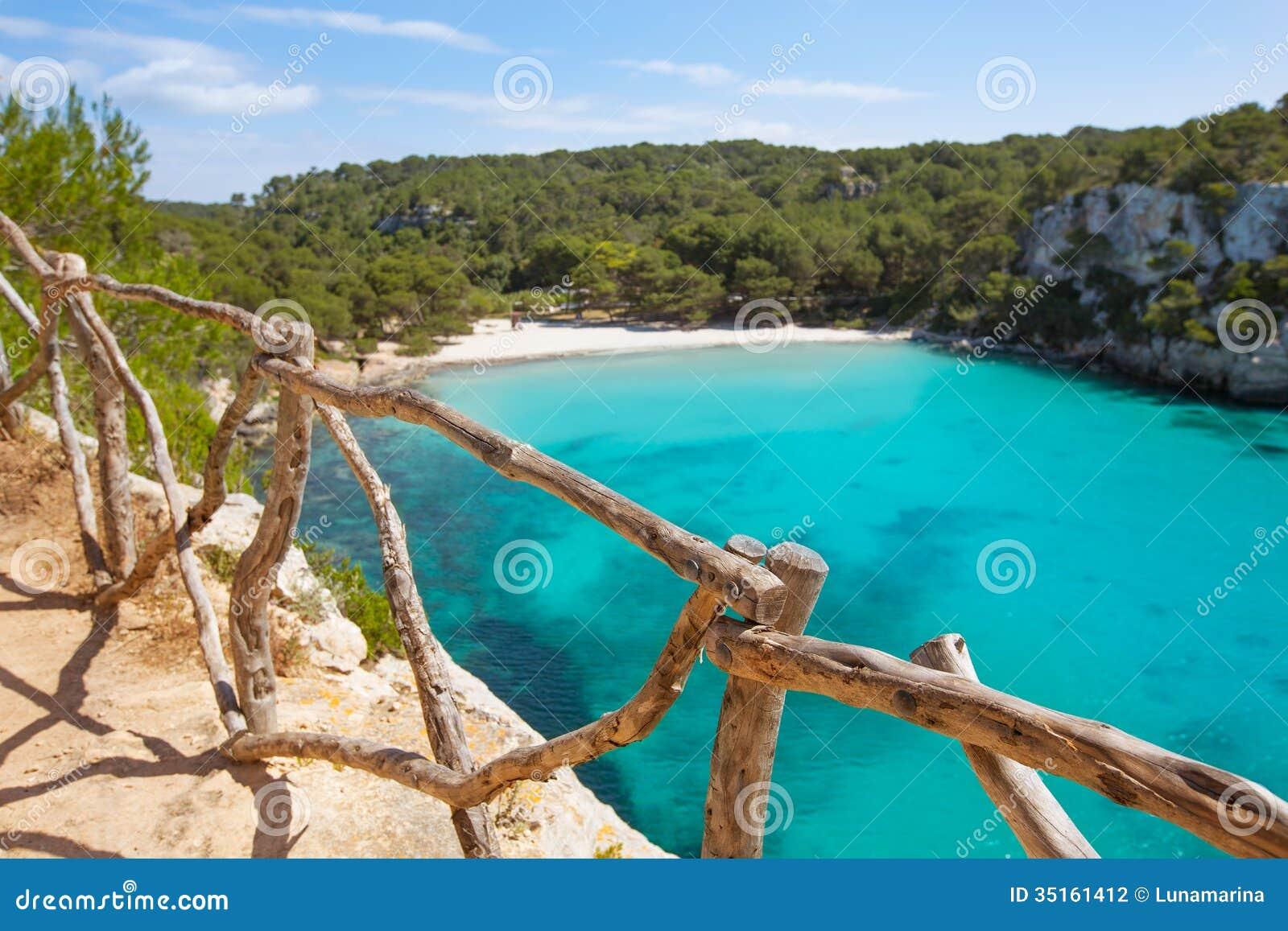 Cala Macarella Menorca turkusowy Balearic Śródziemnomorski