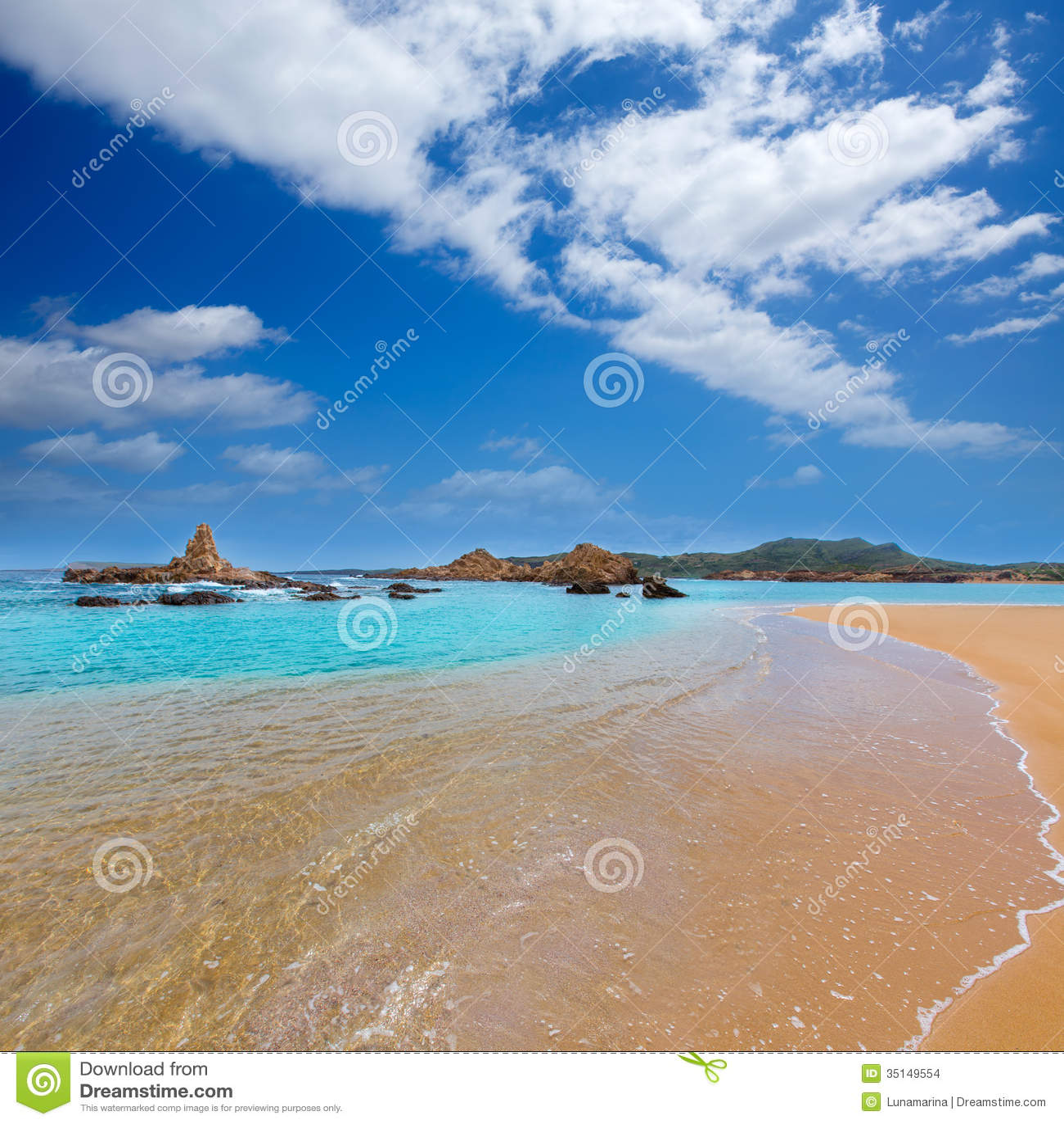 Cala Pregonda in Menorca at Balearic islands