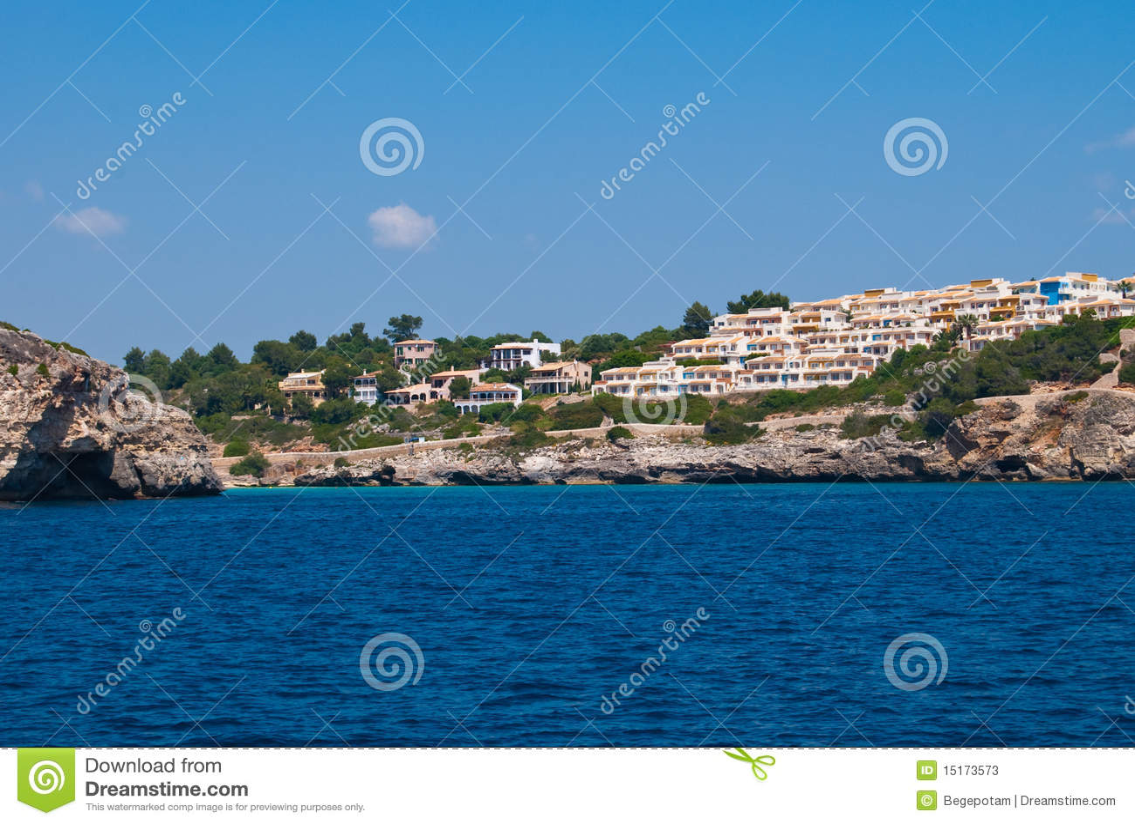 Cala Romantica Spain  city images : Cala Romantica bay view from the open sea, Majorca island, Spain.