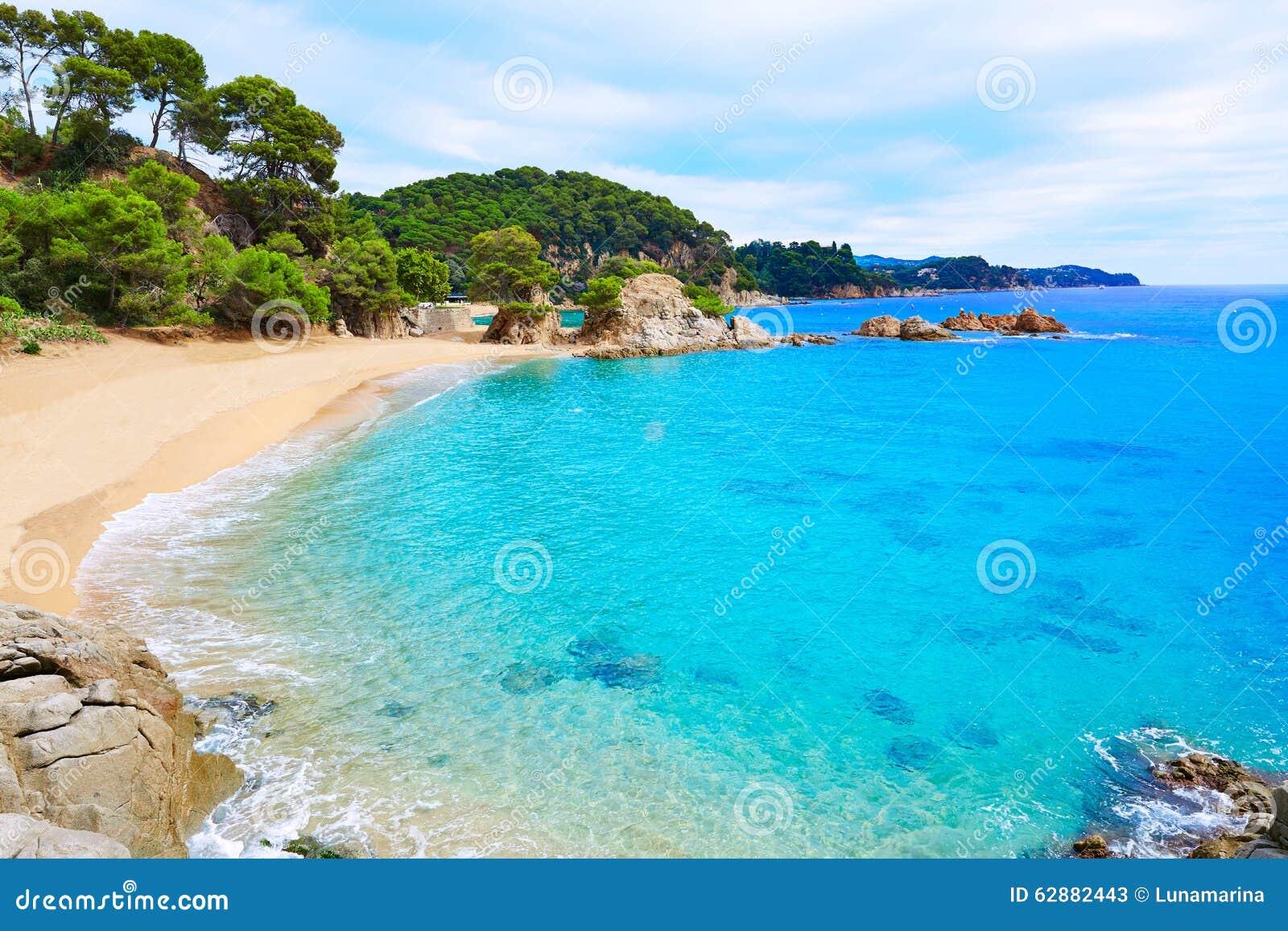 cala treumal strand lloret de mar costa brava stock afbeelding afbeelding 62882443. Black Bedroom Furniture Sets. Home Design Ideas