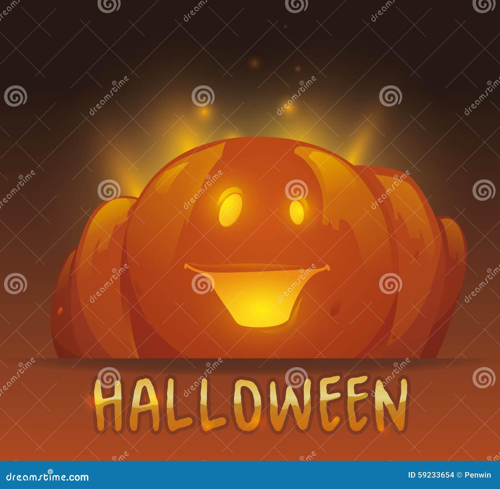 Download Calabaza De Halloween Que Brilla Ilustración del Vector - Ilustración de tradicional, lindo: 59233654