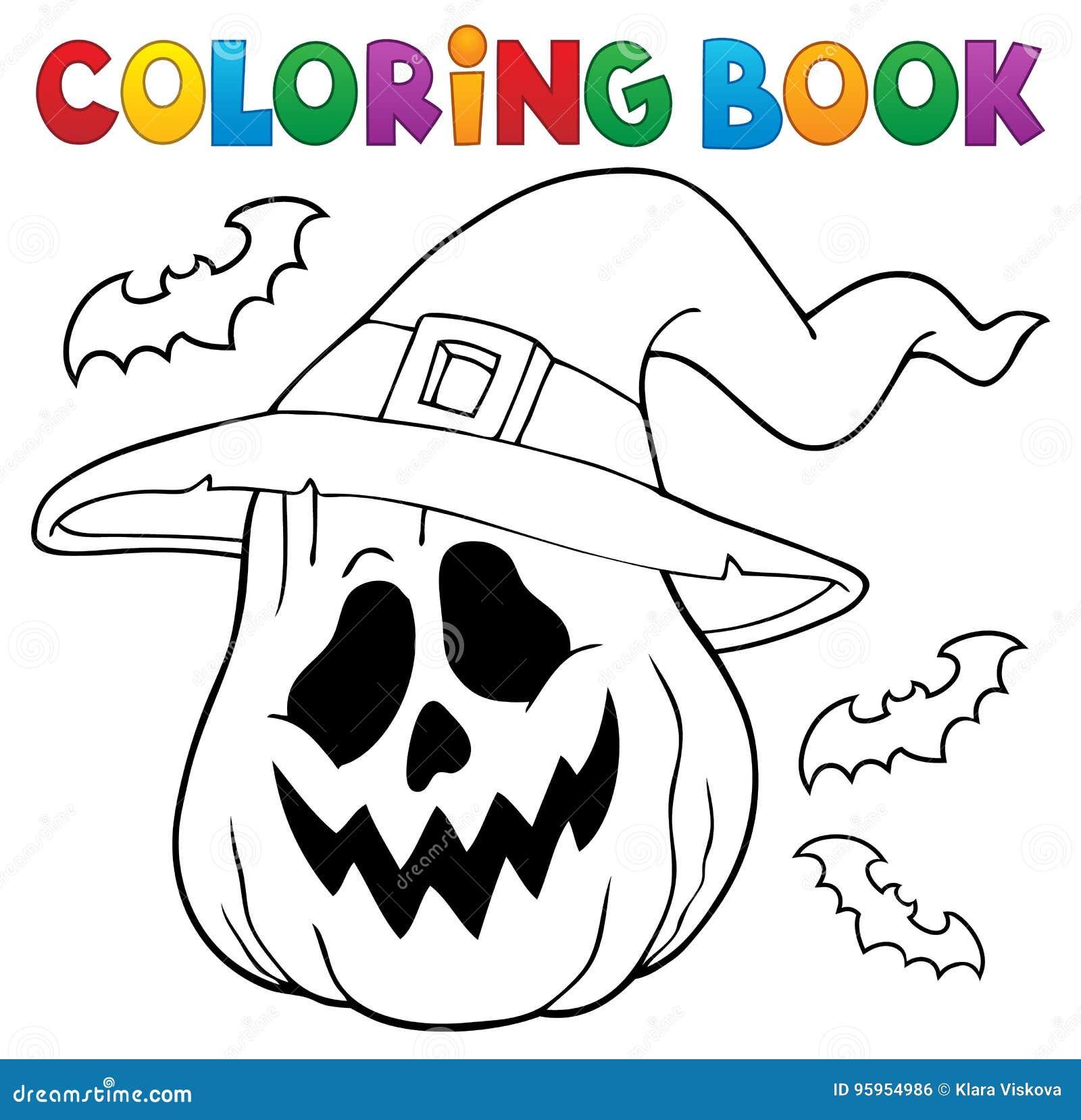 Calabaza Del Libro De Colorear En Sombrero De La Bruja Ilustración ...