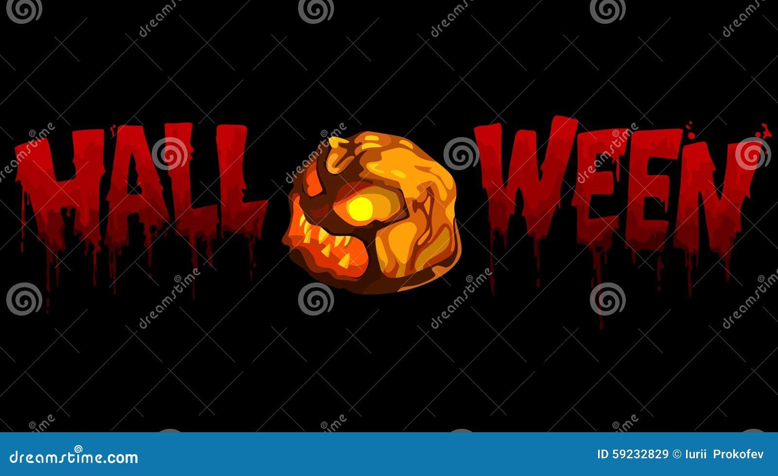 Calabaza sangrienta de Halloween de la inscripción con la luz