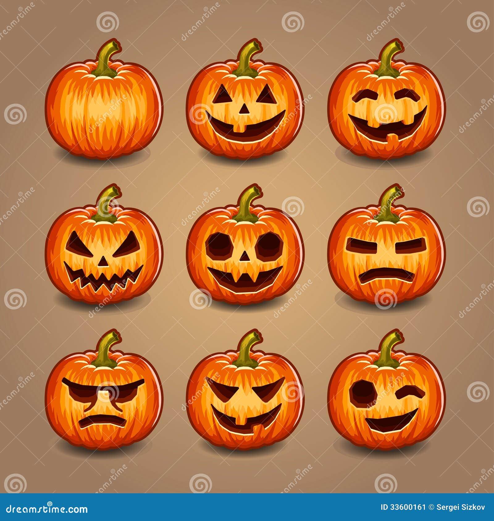 Calabazas de halloween fijadas vector imagen de archivo - Disenos de calabazas de halloween ...