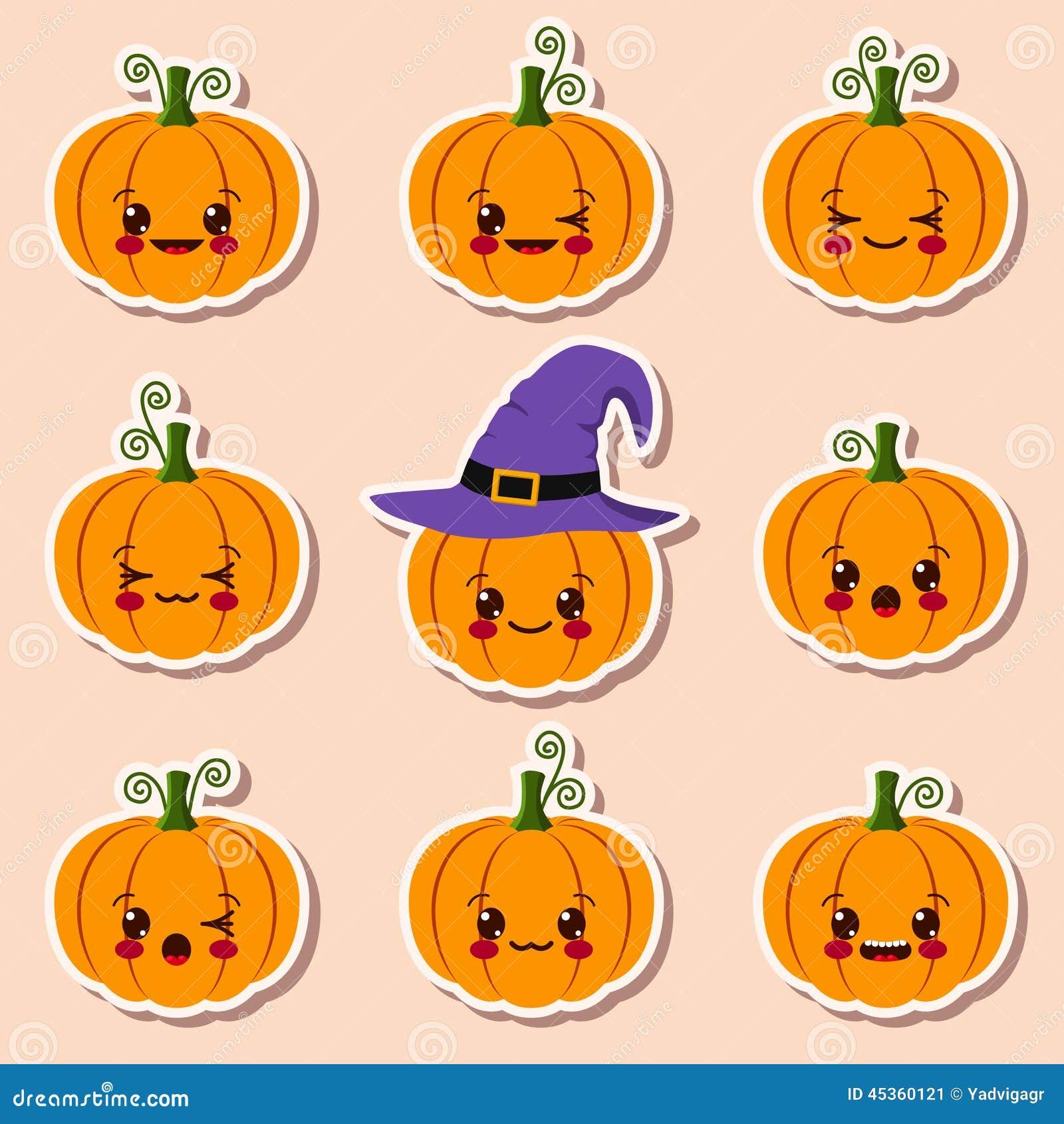 Calabazas de kawaii halloween ilustraci n del vector - Disenos de calabazas de halloween ...