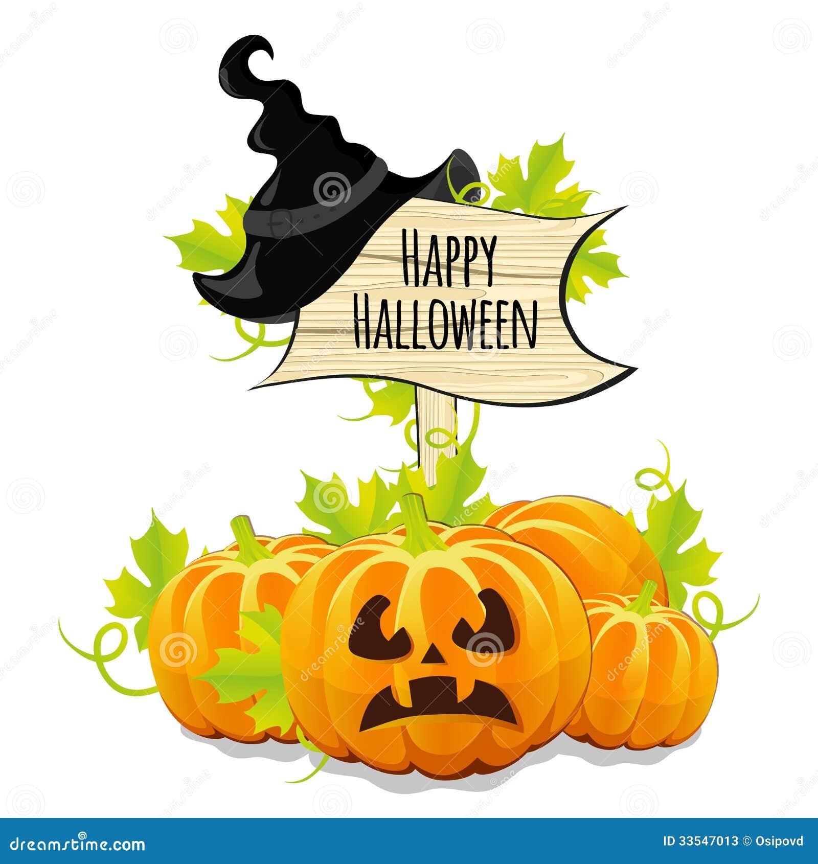 Calabazas para halloween y el letrero de madera fotos de - Imagenes de halloween ...