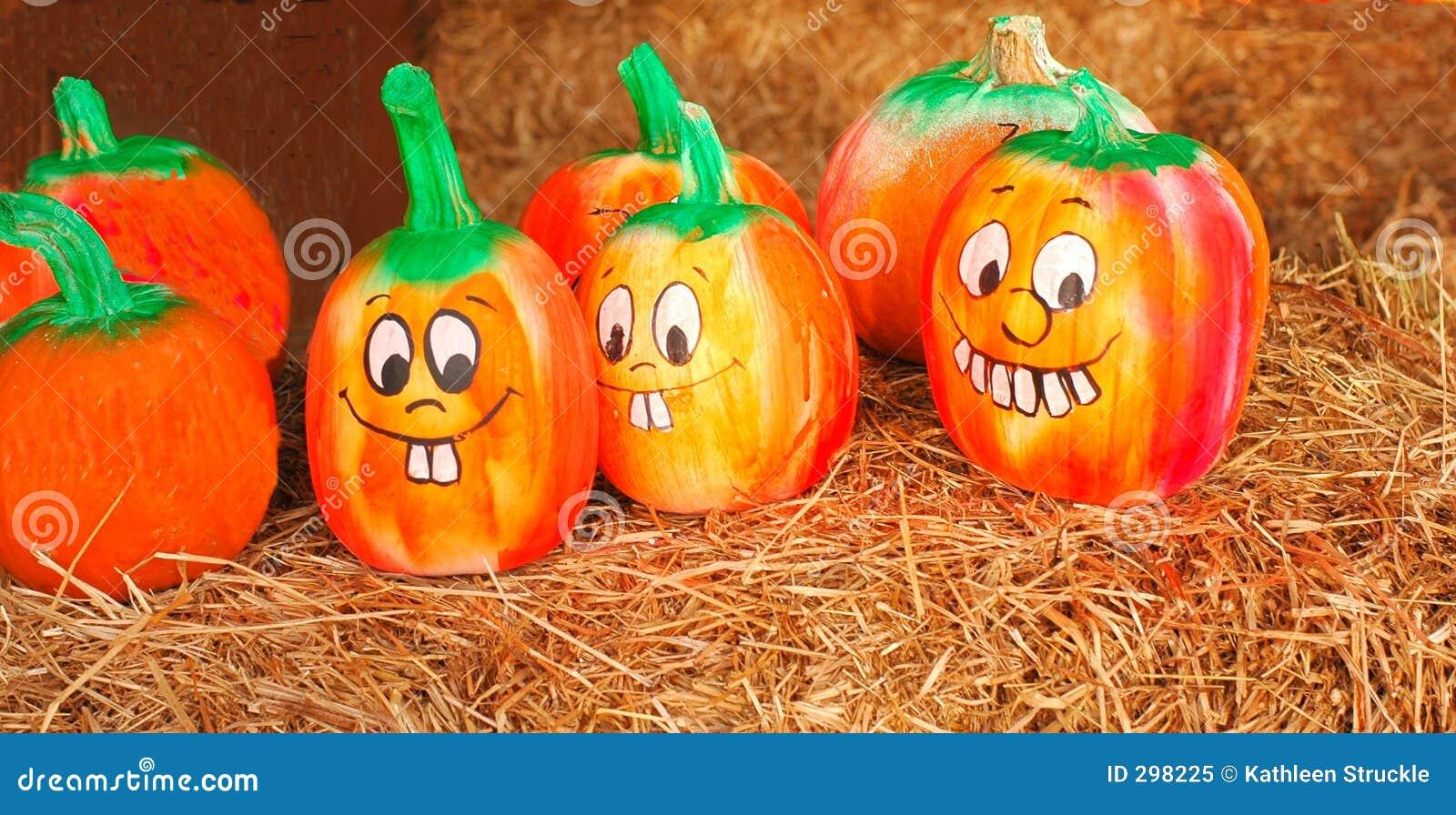 Calabazas pintadas imagen de archivo imagen de estacional 298225 - Calabazas de halloween pintadas ...