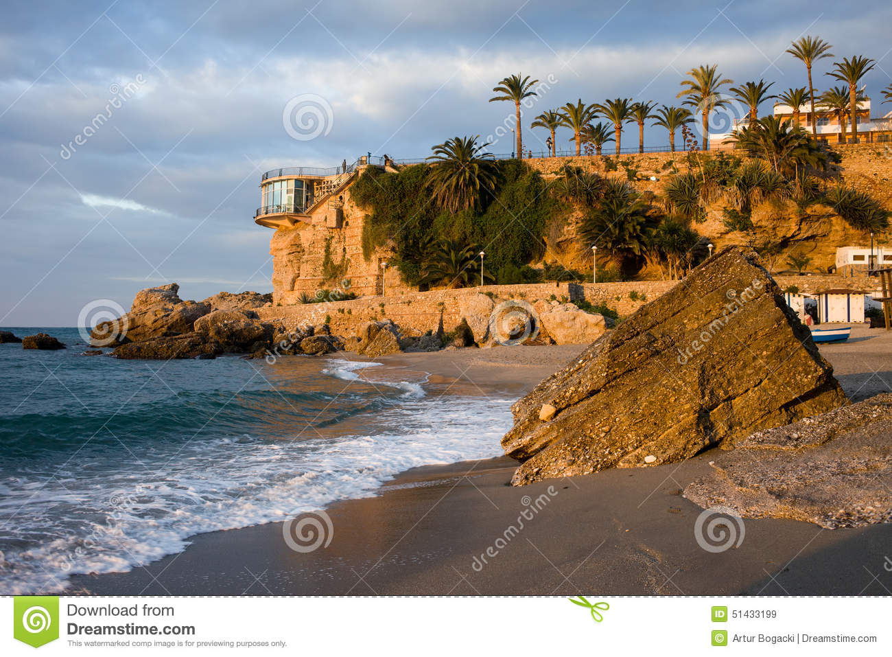 calahonda beach and balcon de europa in nerja at sunrise stock image image 51433199. Black Bedroom Furniture Sets. Home Design Ideas