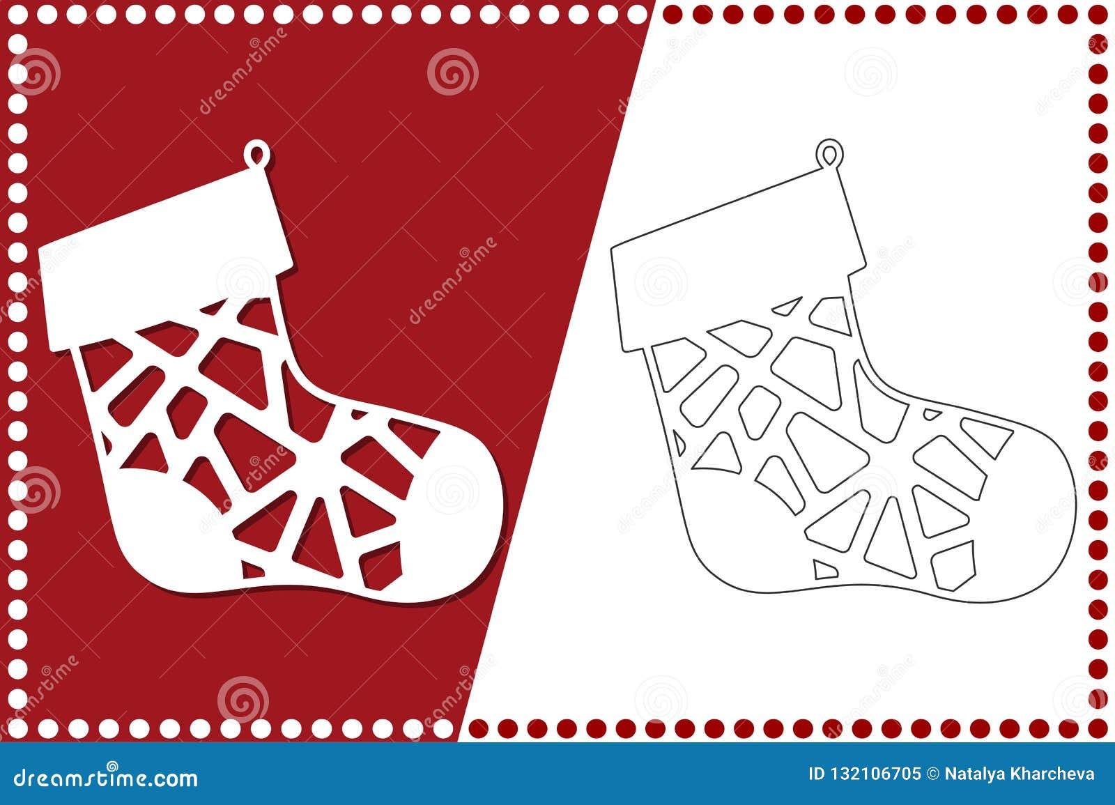 Calcetín moderno de la Navidad El juguete del Año Nuevo para el corte del laser Ilustración del vector