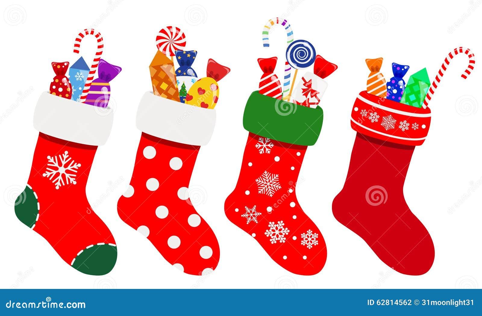 calcetines de la navidad con los caramelos ilustracin del vector