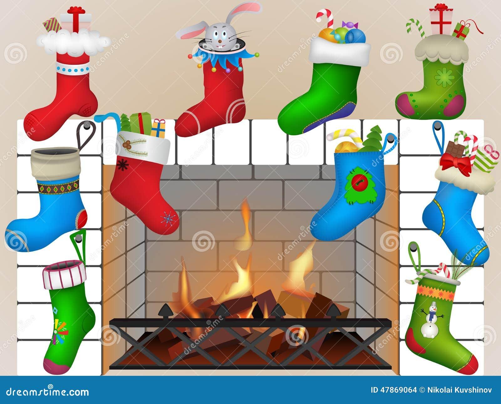 Calcetines de la Navidad por la chimenea