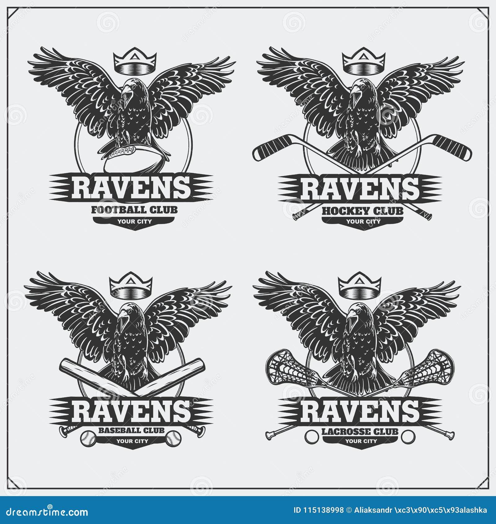 Calcio, baseball, lacrosse e logos ed etichette dell hockey Emblemi del club di sport con il corvo