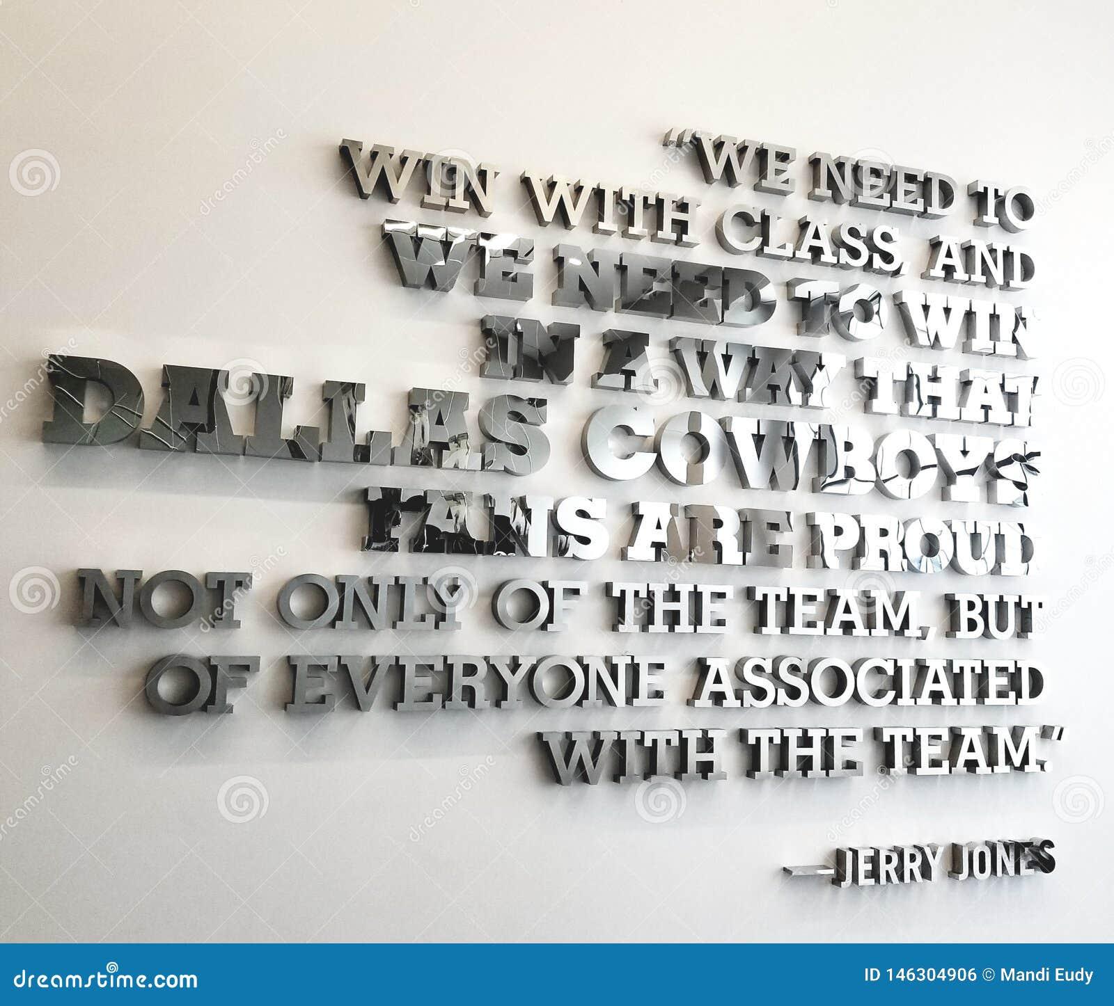 Calcio di The Star di citazione del gruppo di Jerry Jones Dallas Cowboys Inspirational