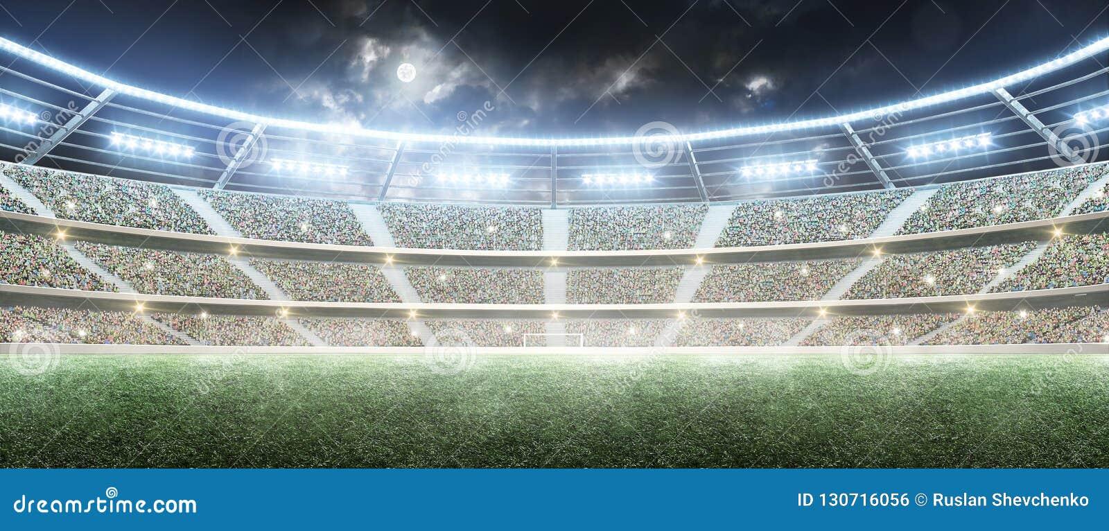 Calcio stadium Arena di sport professionale Stadio di notte sotto la luna con le luci Panorama