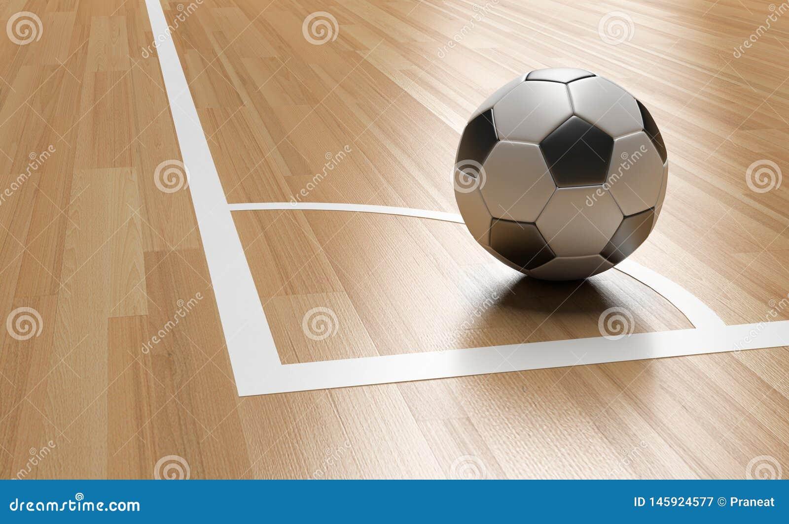 Calcio sull angolo di legno del pavimento della corte