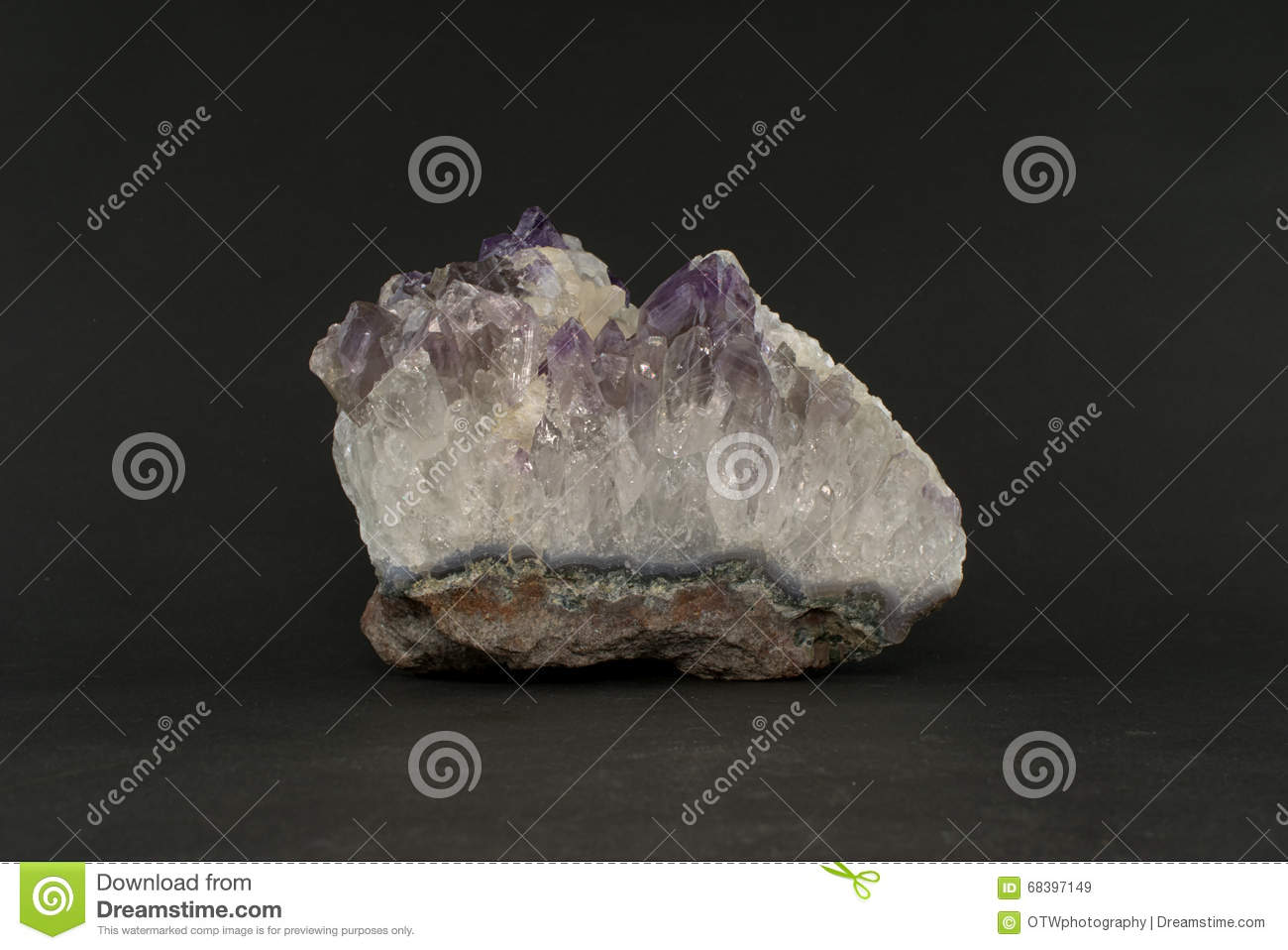 Calcite Cluster On An Amethyst Cluster Stock Image - Image