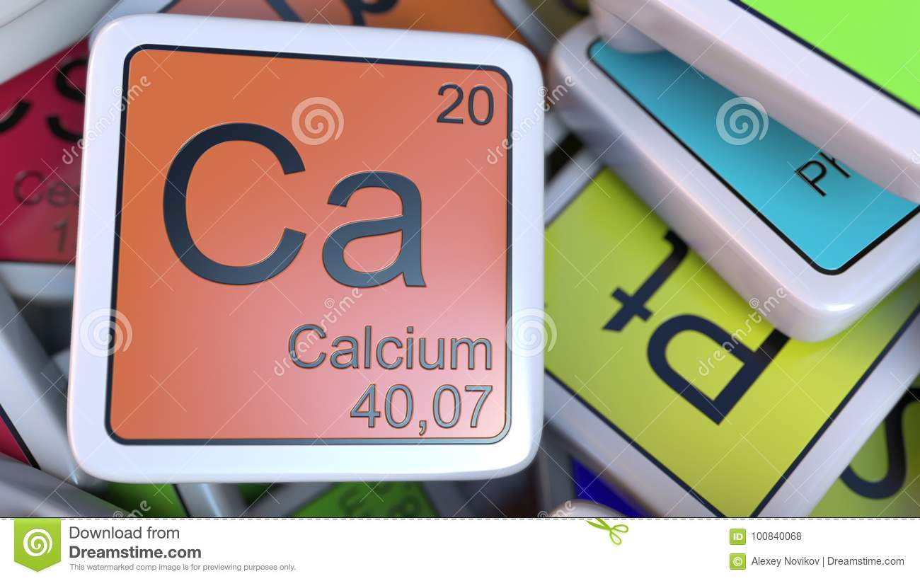Calcium Block On The Pile Of Periodic Table Of The Chemical Elements
