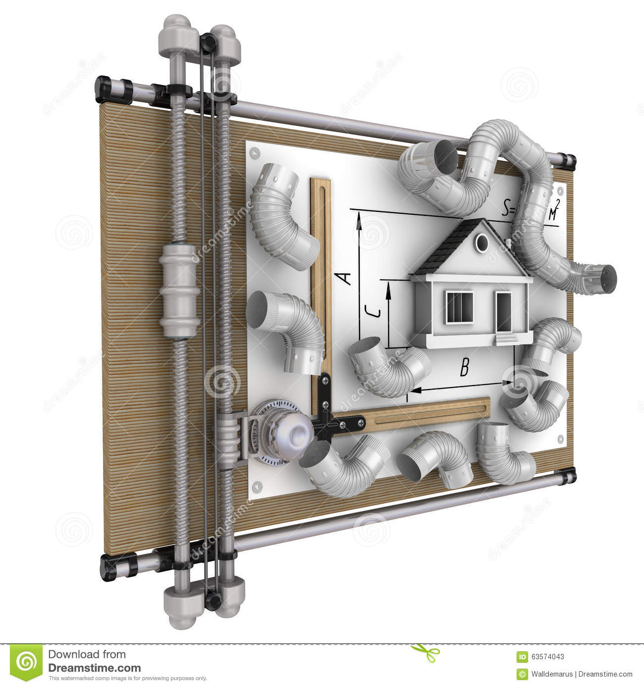 Calcul de la ventilation de la maison illustration stock for Calcul chauffage maison