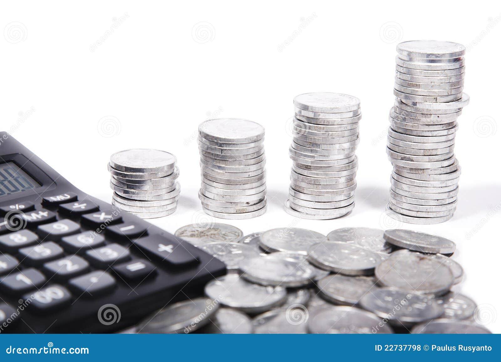 Calculadora com moedas de prata
