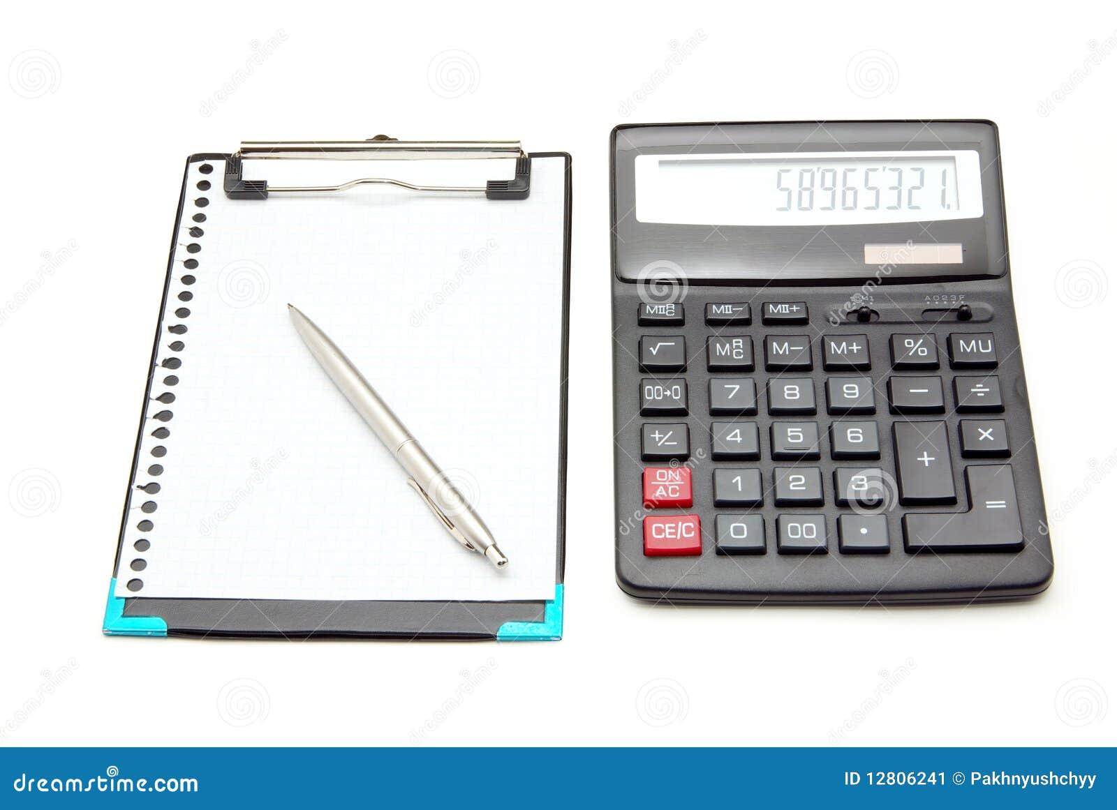 Calculadora e caderno