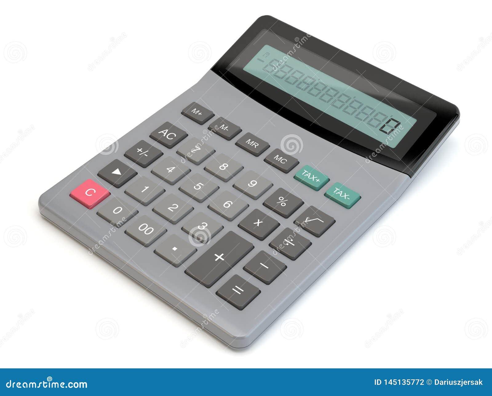 Calculadora, fondo blanco, ejemplo 3D