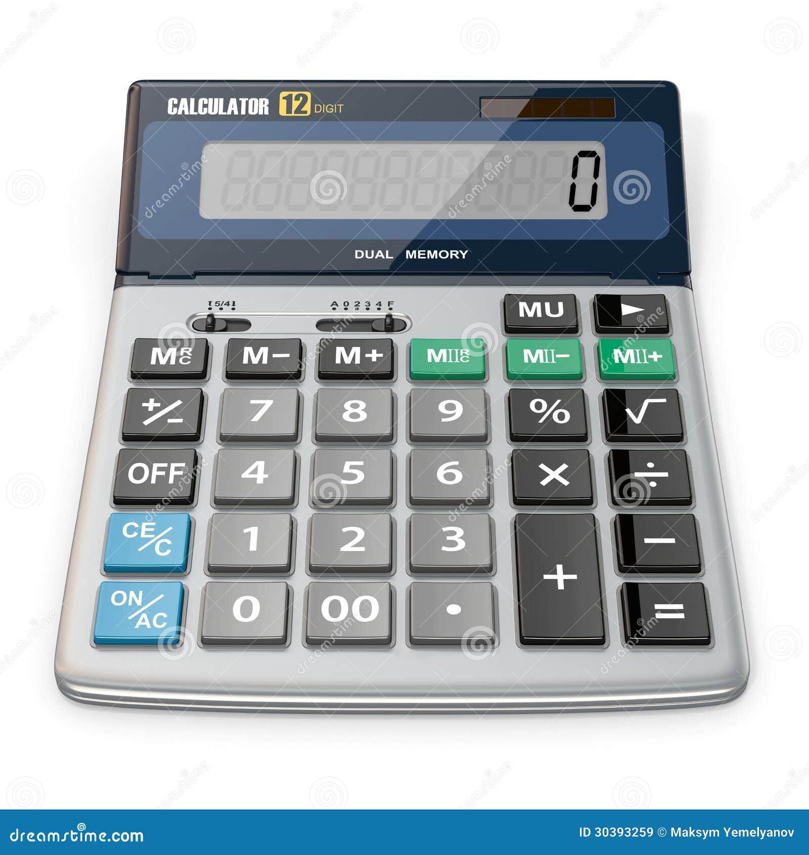 Calculadora no fundo isolado branco