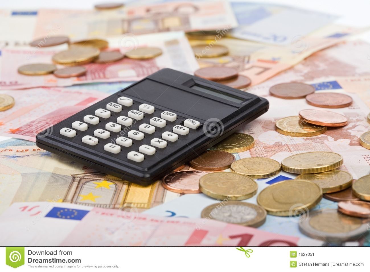 Euro Bills And Cents With A Calculator