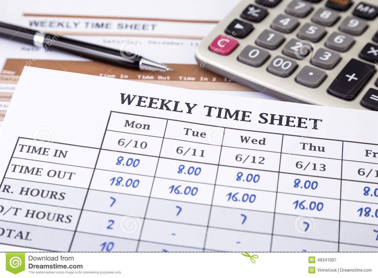Calculating Employee Working Time Stock Image - Image of information