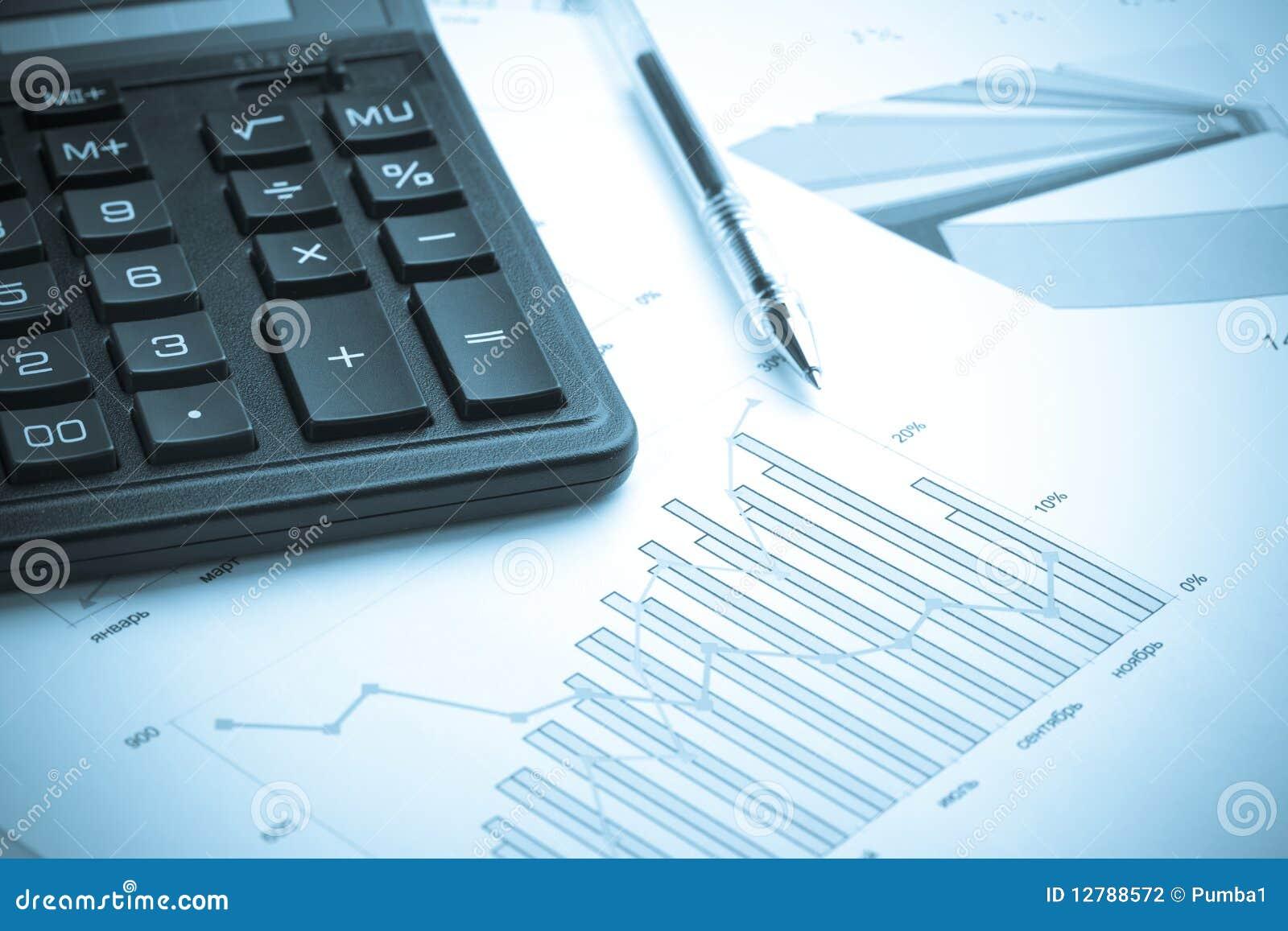 Calculating finances.Cold tone.