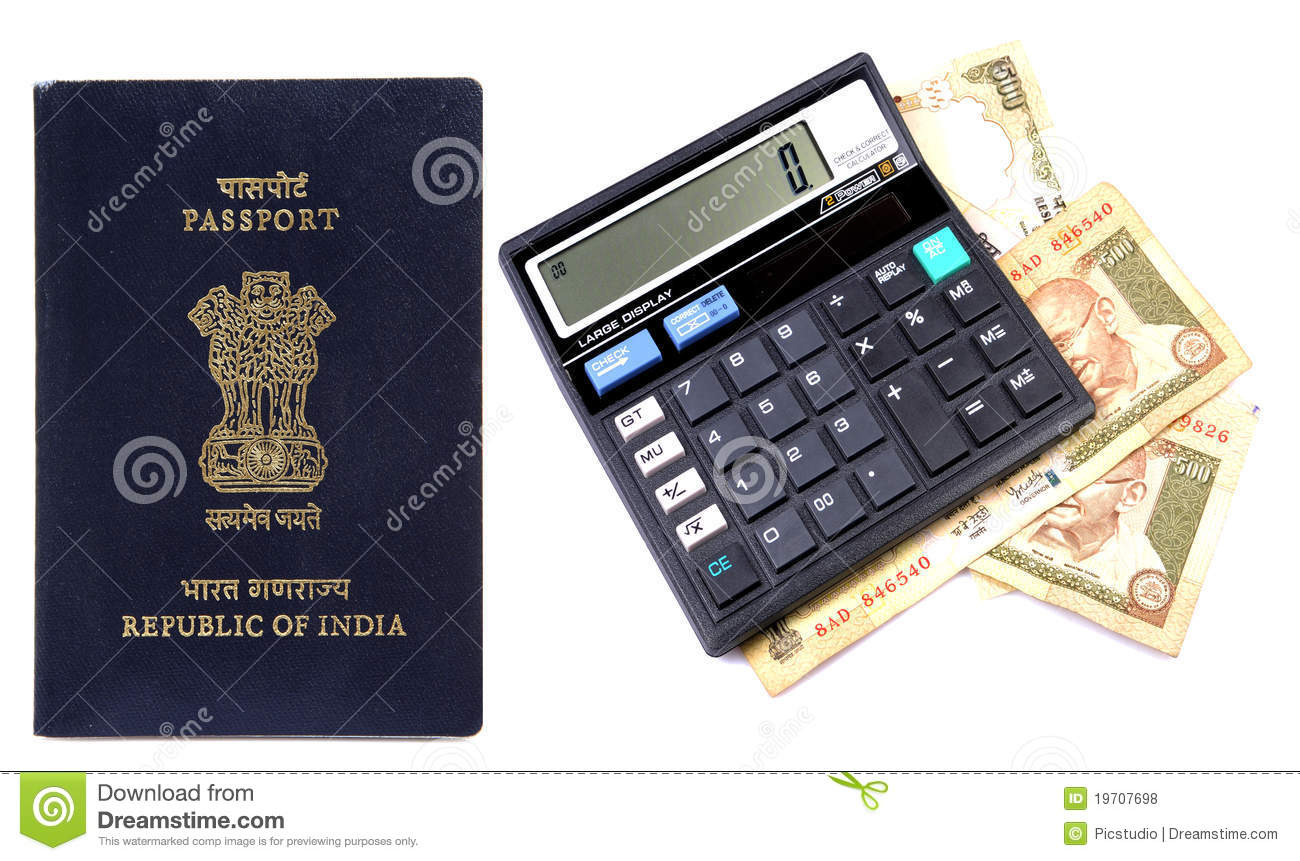 calculating foreign trip expenses stock photo image of screen