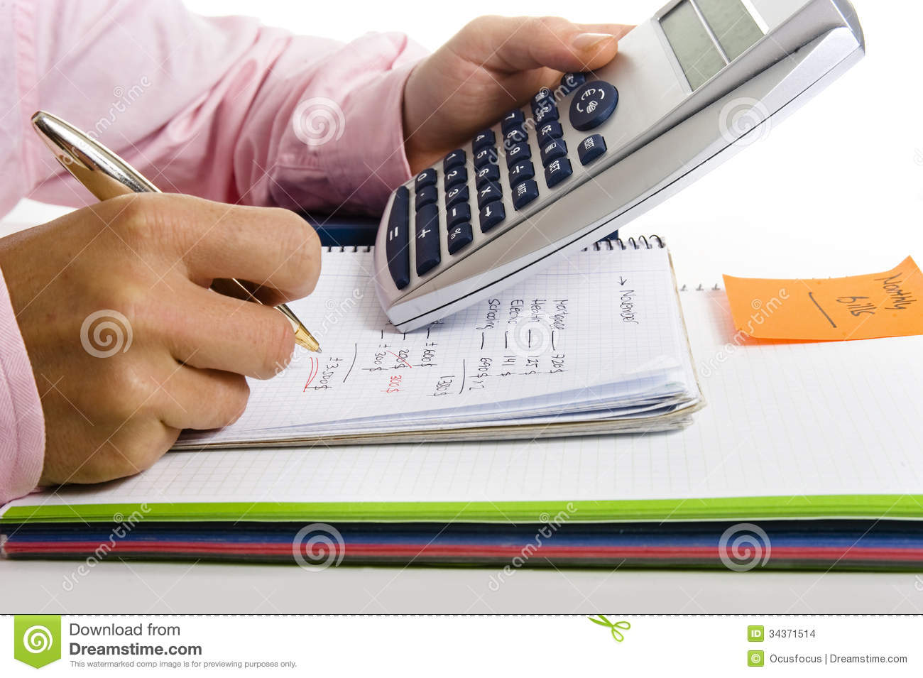 Man with calculator and the cost of living