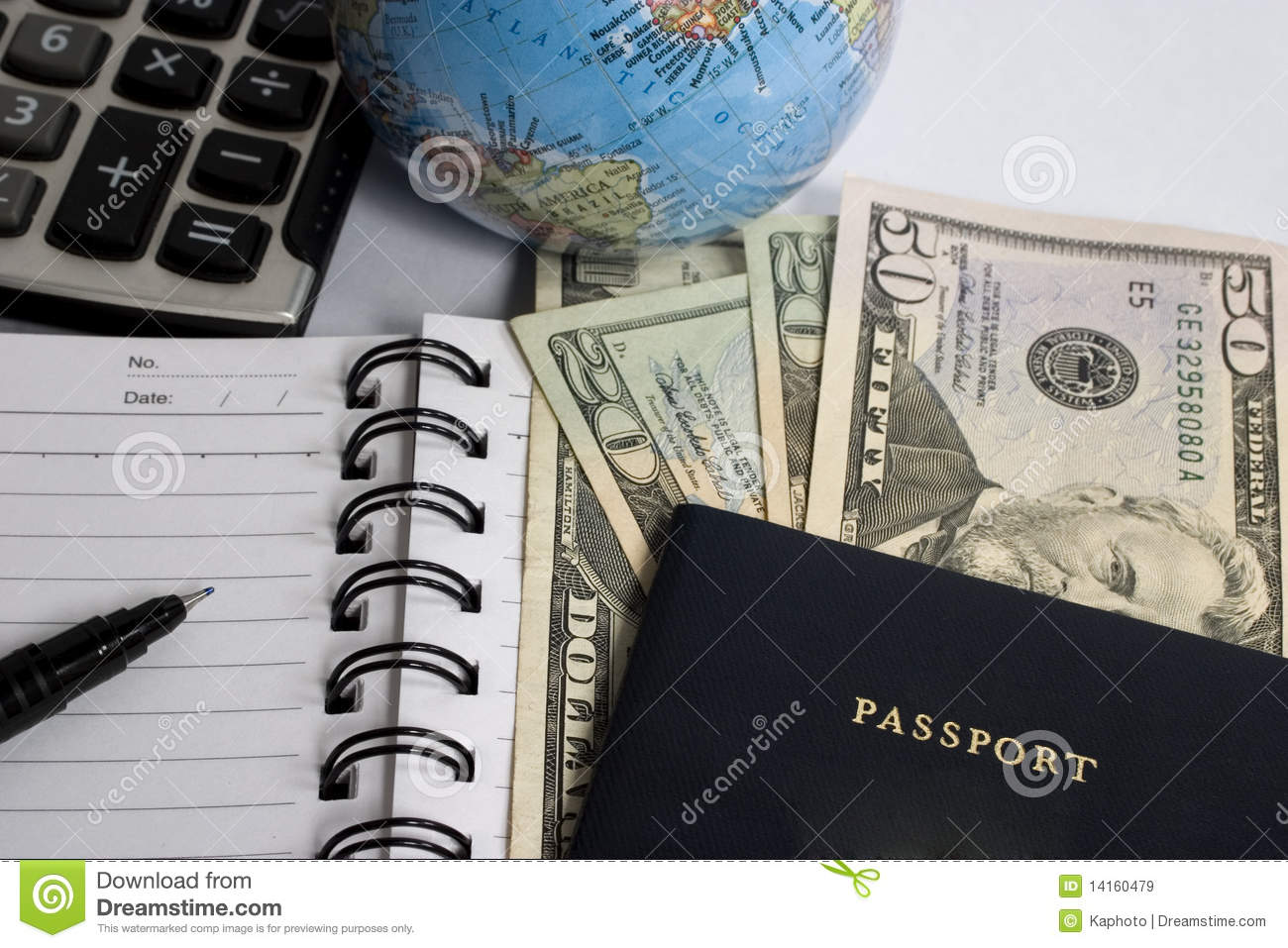 calculating travel expenses stock image image of globe diary