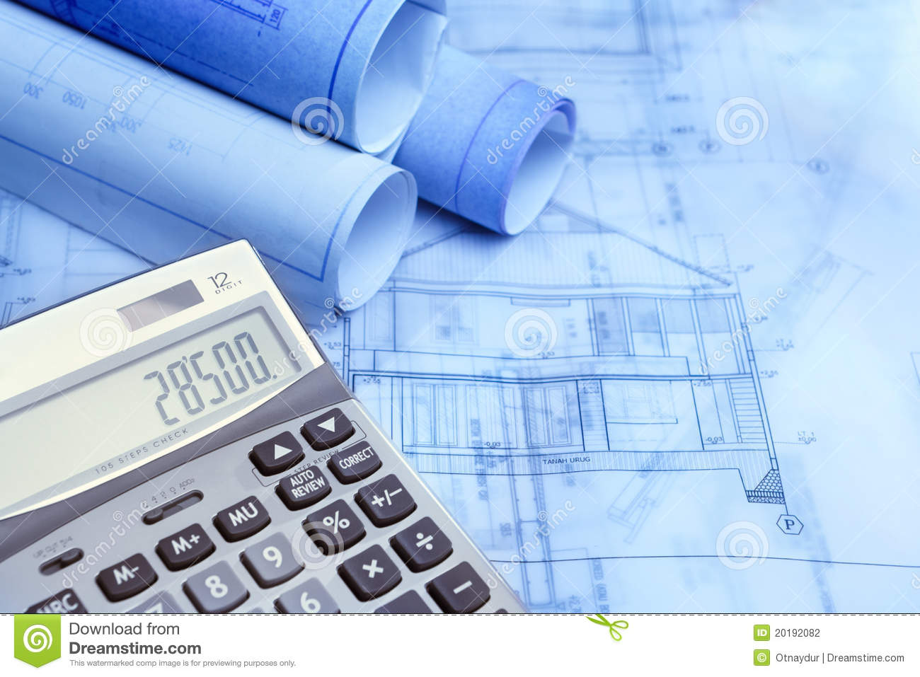 Calculation of construction stock photography image for Blueprint estimator