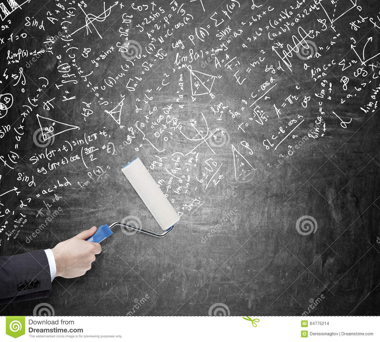 Calculations On The Blackboard Stock Photo Image Of Lamp Formulas Notes And Diagrams Hand Painting A Blackboardl With Roller Covering It Mathematic Signs Graphs Concept Giving New Ideas
