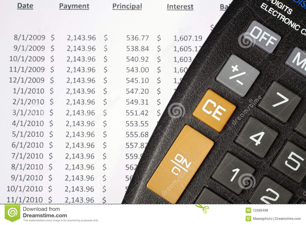 calculator and amortization table stock photo image of closeup