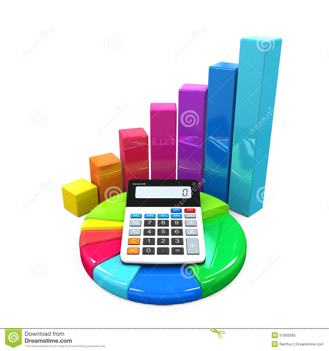 Calculator with bar graph and pie chart stock illustration calculator with bar graph and pie chart development concept nvjuhfo Choice Image