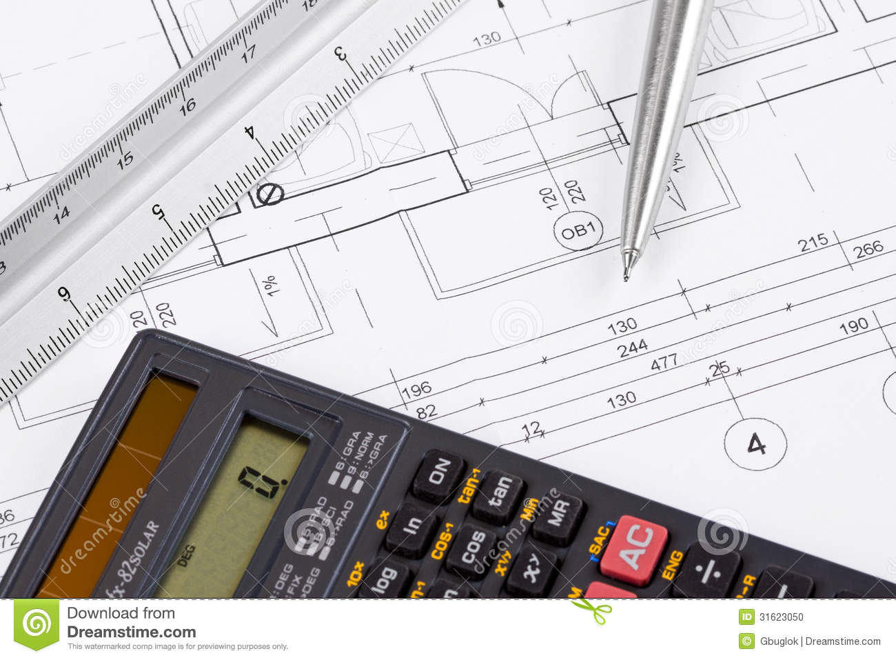Calculator On A Blueprint Stock Photo Image 31623050