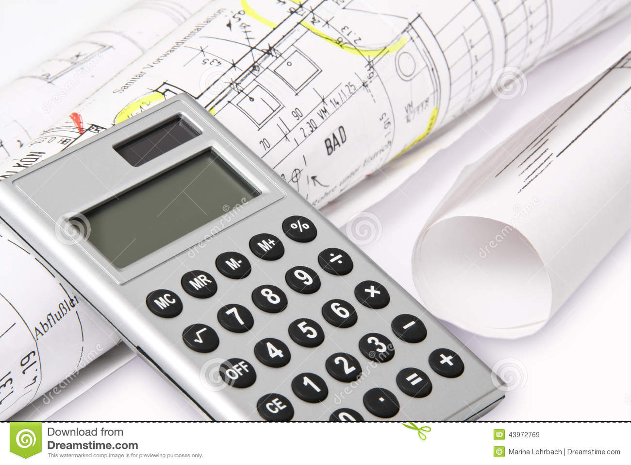 calculator building plans stock image image of