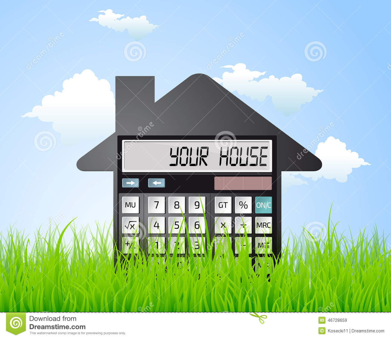 Calculator buying a house stock vector image 46728659 for Cost to build your own home calculator