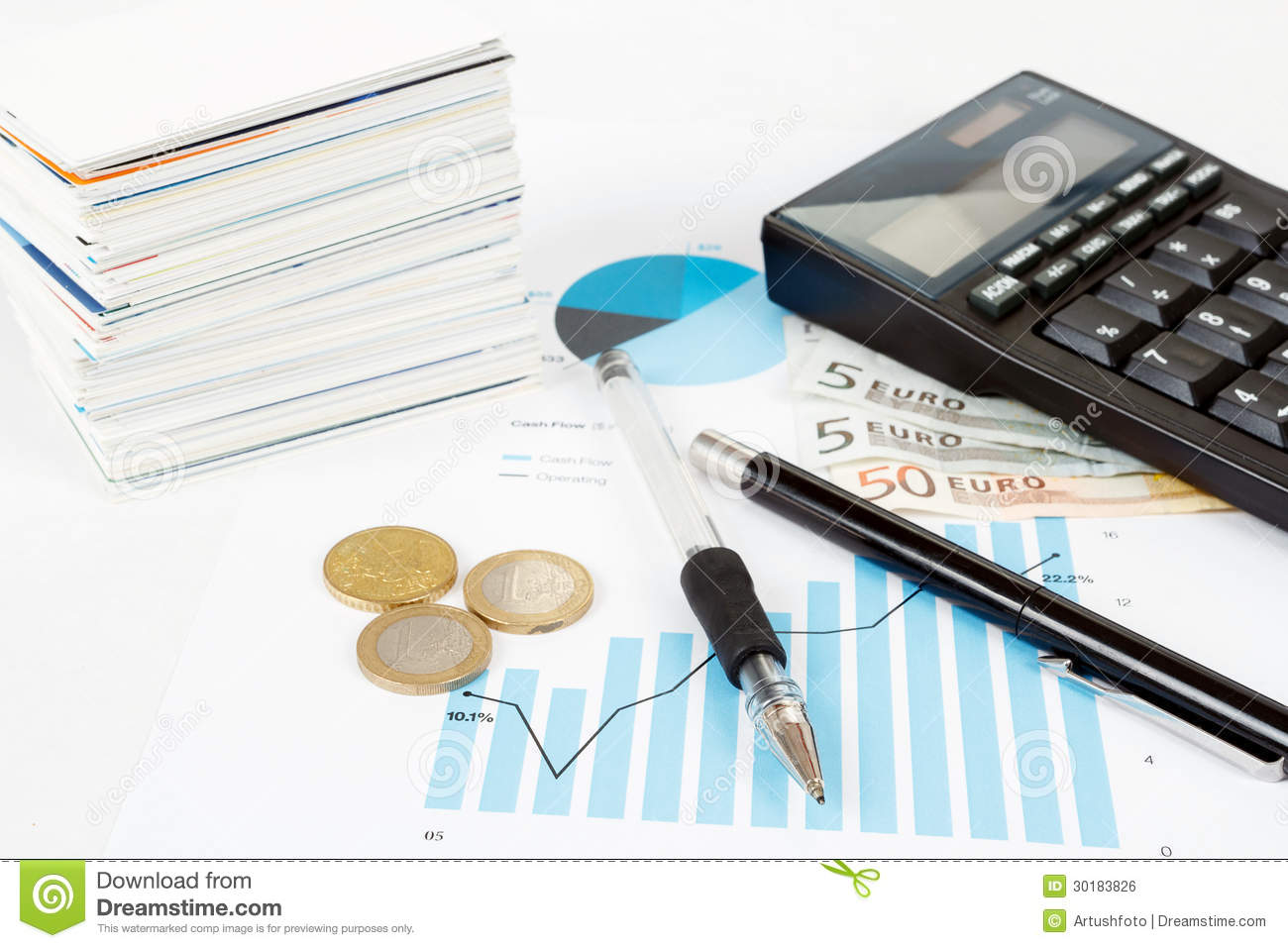Calculator, Charts, Pen, Business Cards, Money, Workplace ...