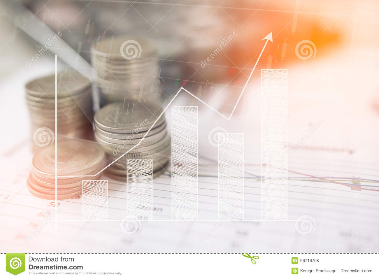 Calculator and coin,money with business graphs and charts report on table, calculator on desk of financial planing. Financial con