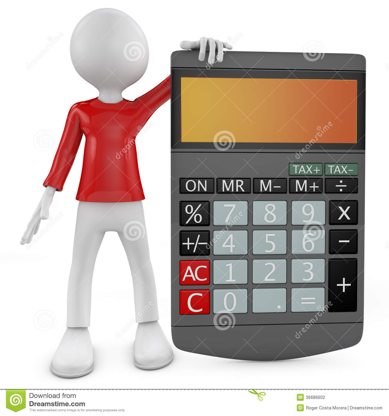 Calculator 3d Little Human Character With A Calculator